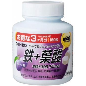 Orihiro Chewable Mineral Iron & Folic Acid-комплекс железо +фолиевая кислота