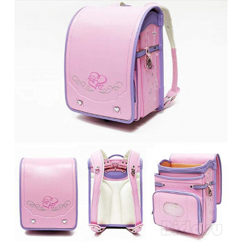 Bidasu School Bag Automatic Lock Luxurious Embroidery -ортопедический японский  ранец Рандосеру  для девочки голубой