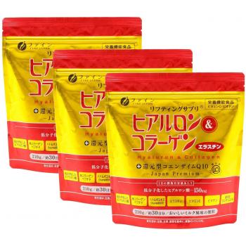 Fine Hyaluron & Collagen &Coenzyme Q10-комплекс гиалуроновой кислоты витаминов и коллагена 3 упаковки